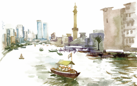 canal: Watercolor city canal with boat illustration vector.