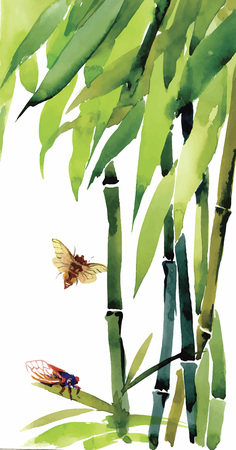 treelike: Watercolor bamboo with bugs and flies illustration vector.