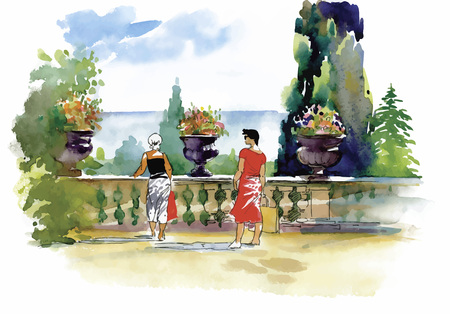 balcony: Watercolor painting with resort balcony with couple vector illustration.