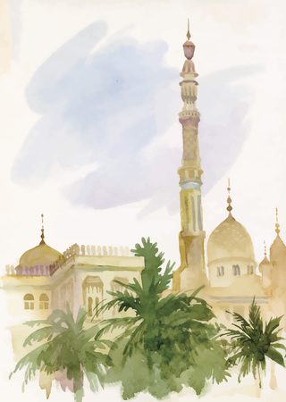shah: Watercolor islamic mosque painting vector.