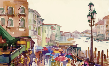 Street of Old autumn city made in watercolor style vector illustration. Vettoriali