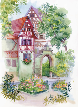 lake shore: Watercolor painting of house in woods illustration.
