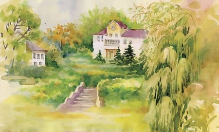 moor: Watercolor painting of house in woods illustration.