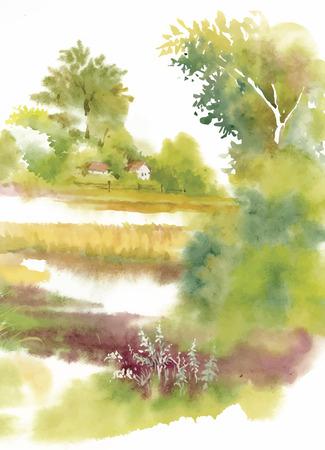grasslands: Watercolor summer rural landscape vector. Illustration