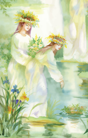 midsummer: Watercolor fairy woman illustration with flowers near lake.