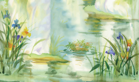 pond water: Summer pond watercolor illustration vector Illustration
