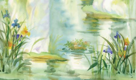 pond: Summer pond watercolor illustration vector Illustration
