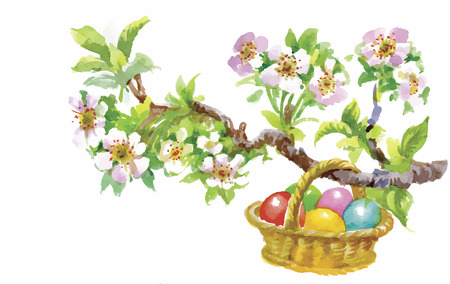 filled: Easter holiday watercolor wicker basket filled with colorful eggs vector illustration. Illustration