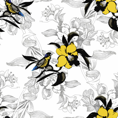 birds on branch: Watercolor Wild exotic birds on flowers seamless pattern on white background.