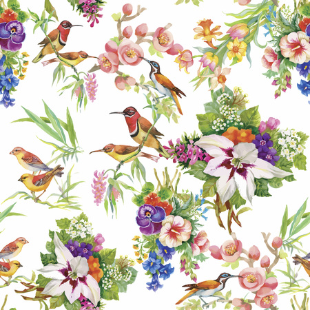 tropical leaves: Watercolor Wild exotic birds on flowers seamless pattern on white background.