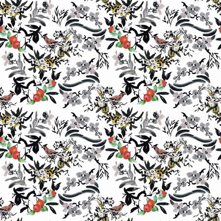 exotic birds: Watercolor Wild exotic birds on flowers seamless pattern on white background.