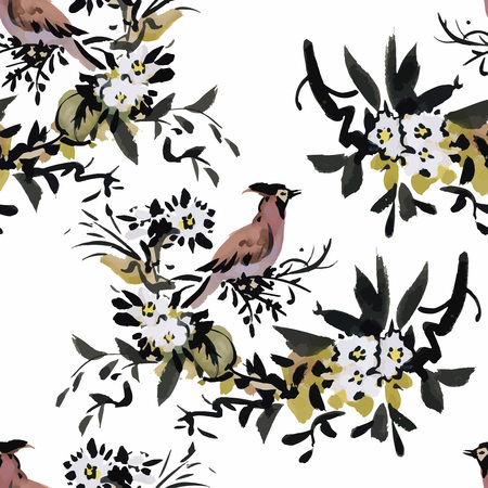 abstract animal: Watercolor Wild exotic birds on flowers seamless pattern on white background.