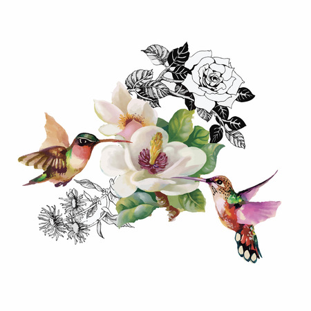exotic flowers: Watercolor hand drawn pattern with tropical summer flowers of and exotic birds. Illustration