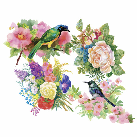 exotic birds: Watercolor hand drawn pattern with tropical summer flowers of and exotic birds. Illustration