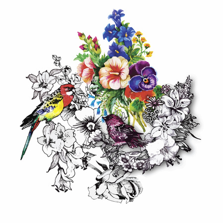 Watercolor hand drawn pattern with tropical summer flowers of and exotic birds. 일러스트