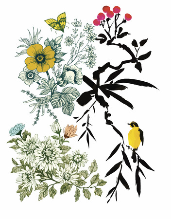 Watercolor hand drawn pattern with tropical summer flowers of and exotic birds. Vectores