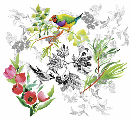 Watercolor hand drawn pattern with tropical summer flowers of and exotic birds. Illustration