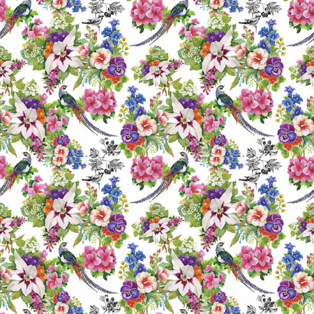 abstract tree: Wild Pheasant animals birds in watercolor floral seamless pattern.