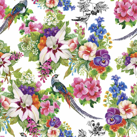 Wild Pheasant animals birds in watercolor floral seamless pattern.