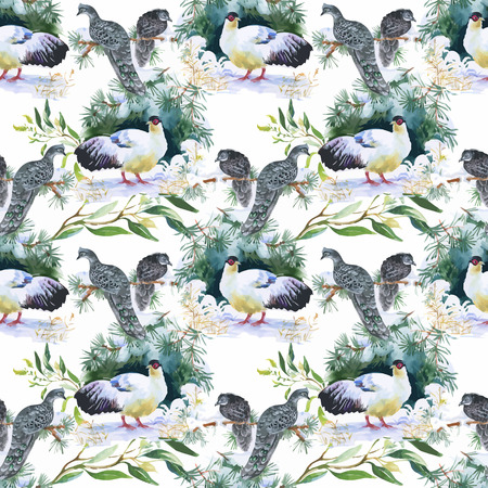 pheasant: Wild Pheasant animals birds in watercolor floral seamless pattern.