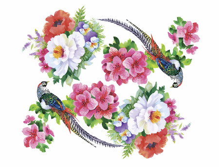 pheasant: Garden flowers and pheasant birds watercolor pattern.