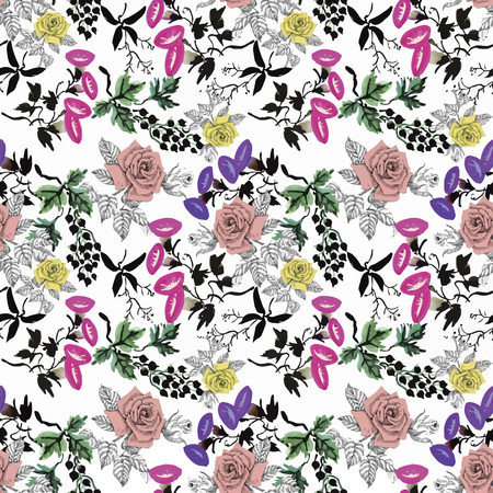 rose garden: Watercolor seamless pattern with roses. Background for web pages, wedding invitations, save the date cards
