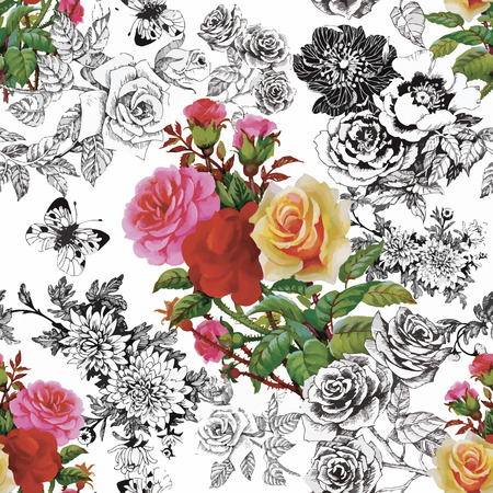 romantic: Watercolor seamless pattern with roses. Background for web pages, wedding invitations, save the date cards