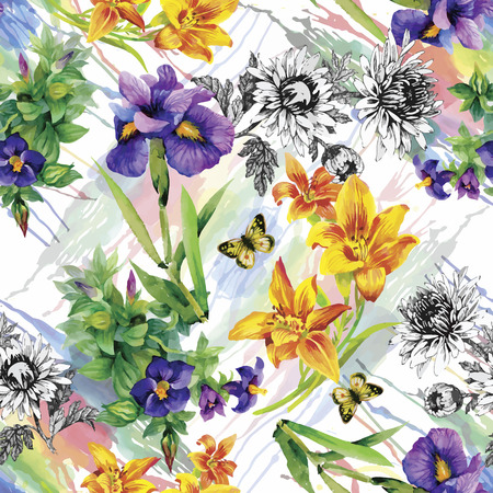 flower designs: Seamless pattern with watercolor irises. Vector illustration.