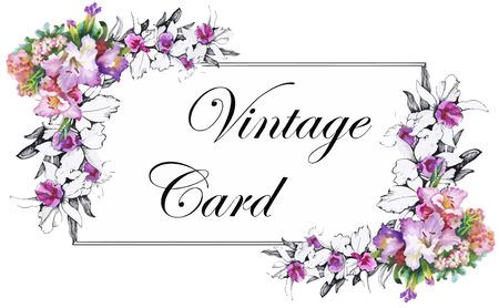 Biglietto di auguri con fiori, acquerello, può essere usato come carta di invito per il matrimonio, compleanno e altre vacanze e estate sfondo. Archivio Fotografico - 45503691
