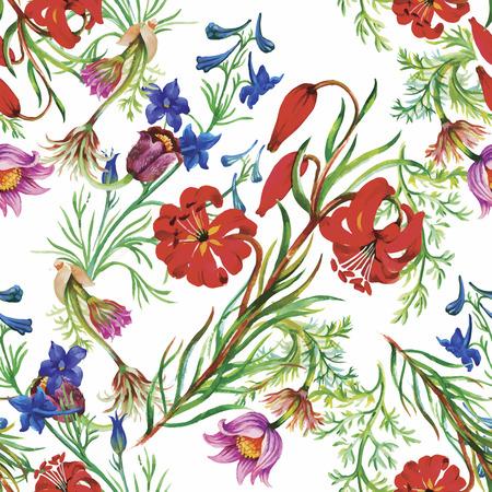 jardines con flores: Patrón sin fisuras con hermosas flores, pintura de la acuarela.