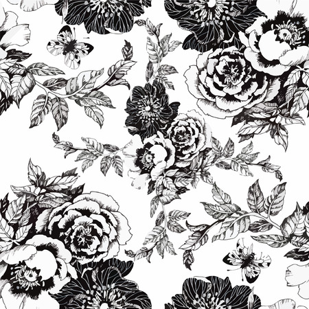roses wallpaper: Seamless pattern with Beautiful flowers, Watercolor painting.