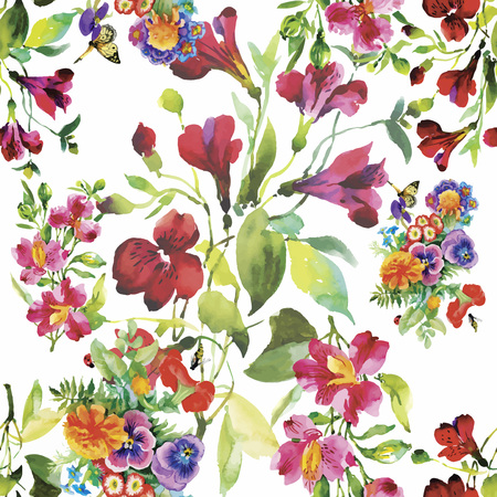 fabric: Seamless pattern with Beautiful flowers, Watercolor painting.