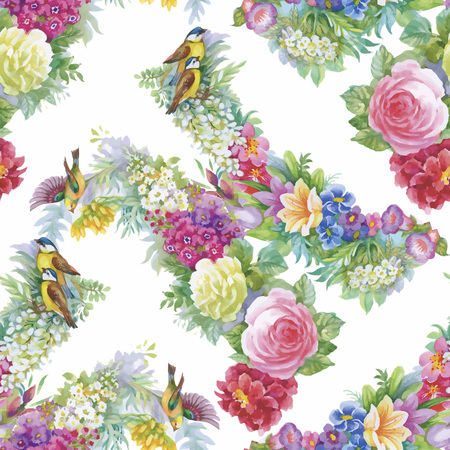 repeating background: Seamless pattern with Beautiful flowers, Watercolor painting.