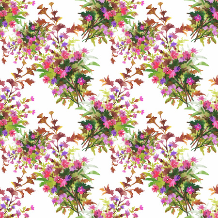 branches with leaves: Seamless pattern with Beautiful flowers, Watercolor painting.