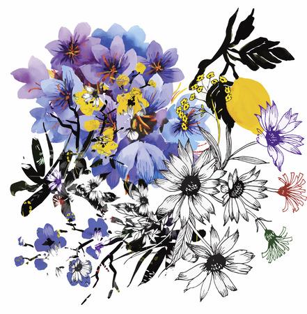 cuadros abstractos: Fondo floral. Tarjeta floral. Acuarela ramo floral. Tarjeta de cumpleaños