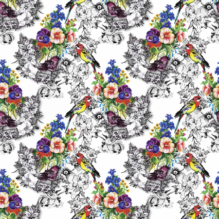 exotic birds: Exotic birds parrot with flowers colorful seamless pattern