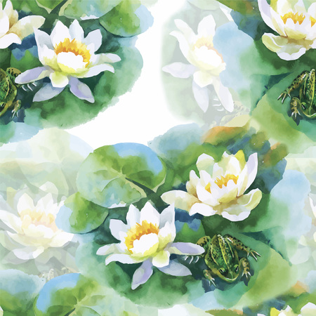 waterlilly: Watercolor white water-lilly flowers seamless pattern with frog on pond.