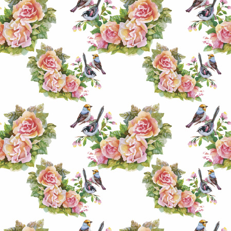 green flowers: Seamless pattern with summer herbs and birds. Watercolor. Illustration
