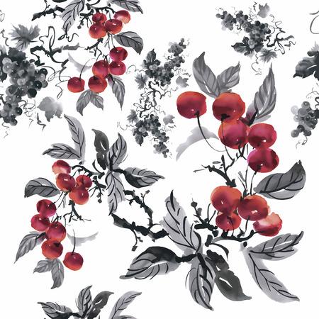 fall winter: Watercolor garden rowan plant seamless pattern.