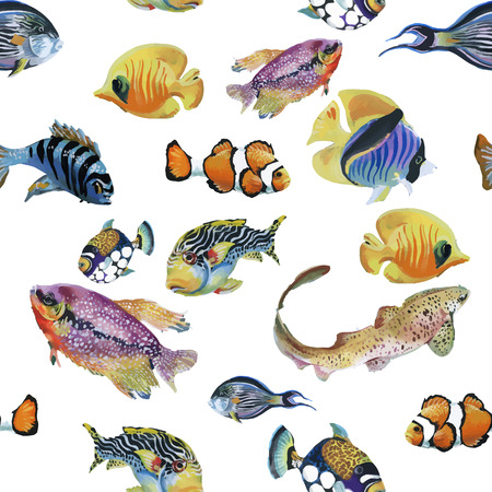 熱帯魚が泳ぐ海洋生物水彩シームレス パターン。