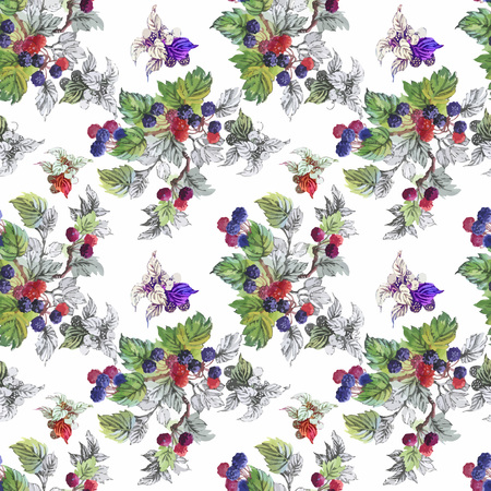hand print: Seamless watercolor pattern with leafs and berries.