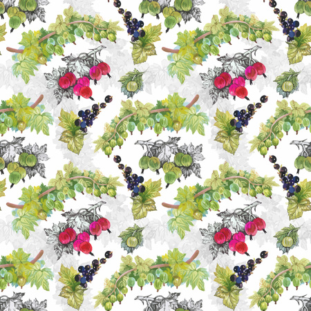 frutos rojos: Seamless watercolor pattern with leafs and berries.