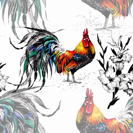 Seamless watercolor pattern with farm roosters silhouettes and flowers.