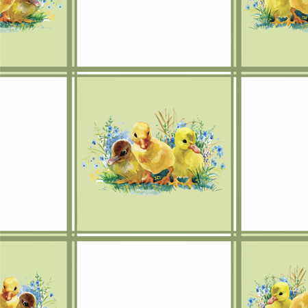 ducklings: Little fluffy cute watercolor ducklings, chickens and hares with eggs seamless pattern on white background vector illustration.