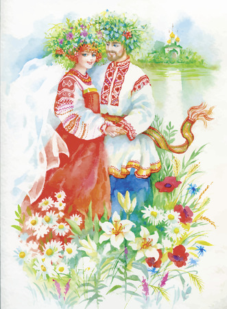 river bank: Woman and men in national costumes and wreaths on the river bank. Watercolor illustration.