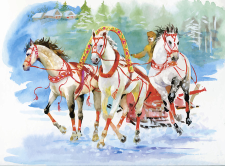 horse and carriage: Horse carriage outdoors. Horses folk painting. Watercolor illustration Illustration