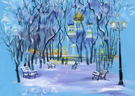 Aquarelle paysage d'hiver avec l'église dans le parc et les gens silhouettes