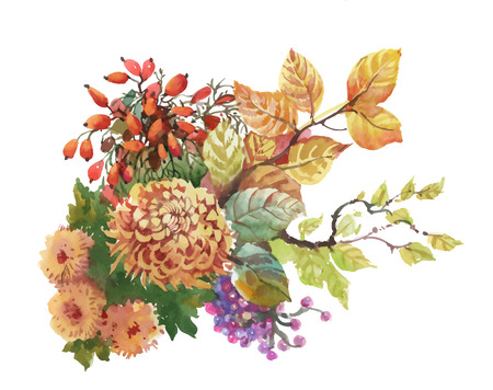 Watercolor autumn background with dogwood and flowers with yellow leaves Illustration
