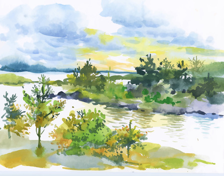 Watercolor autumn forest and lake landscape