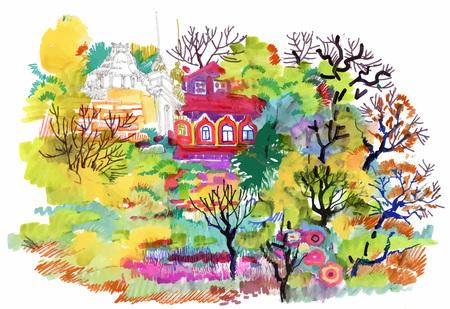 Felt-tip pen autumn rural landscape Illustration